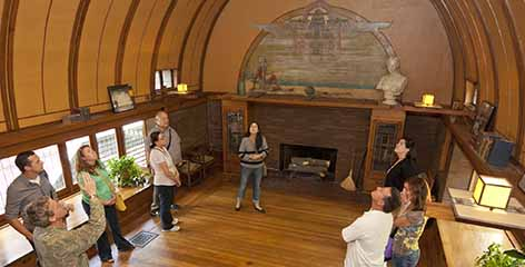 Tour guests in Frank Lloyd Wright Home and Studio playroom
