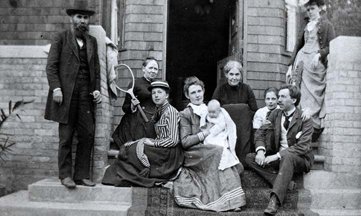 The Wright family on the front steps of the Oak Park home, ca. 1890